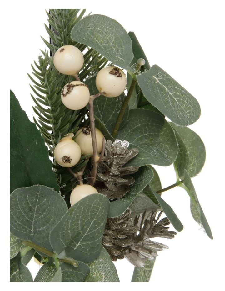 Eucalyptus Wreath Holder with Faux Berries & Pinecones image 3