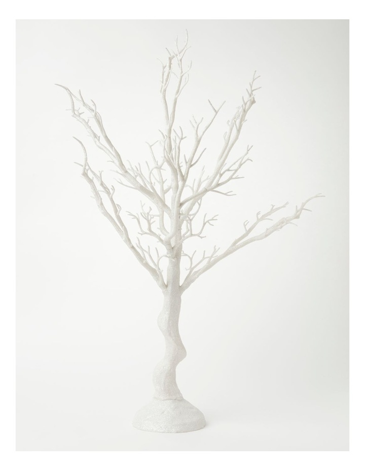 Luxe Glittered Plastic Tree Table Decoration- White: 73cm image 1