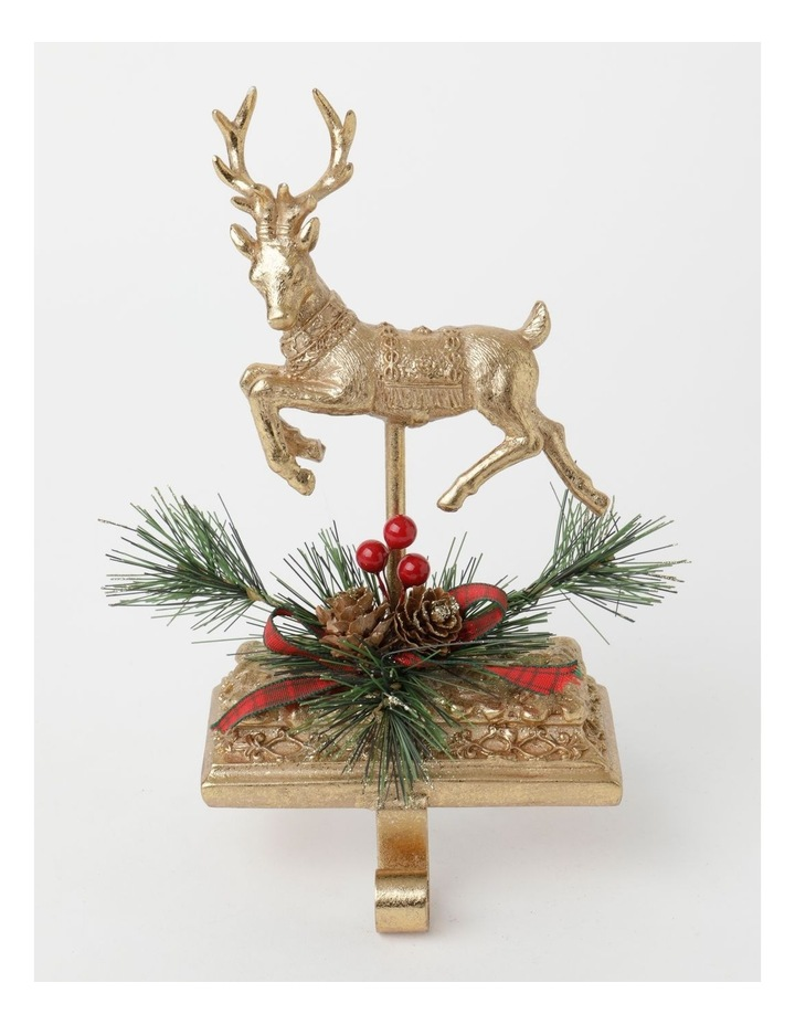Heirloom Polyresin Reindeer w/ Pine & Ribbon Stocking Holder- Gold: 24 cm image 1