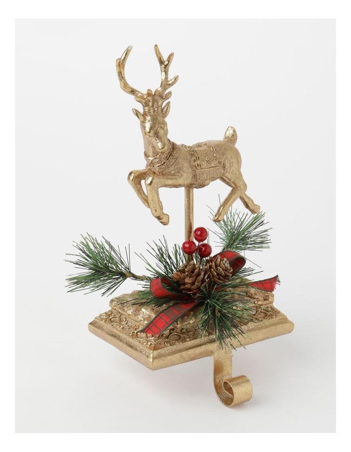 Heirloom Polyresin Reindeer w/ Pine & Ribbon Stocking Holder- Gold: 24 cm image 2