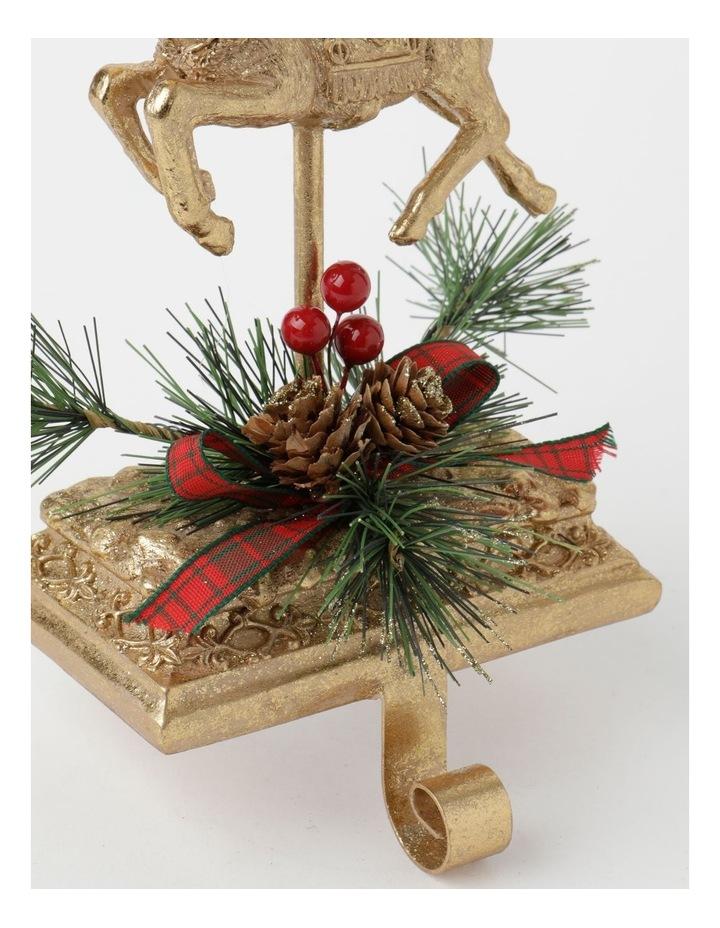 Heirloom Polyresin Reindeer w/ Pine & Ribbon Stocking Holder- Gold: 24 cm image 3