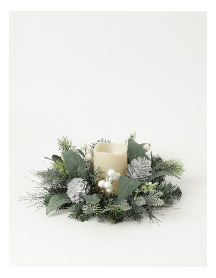Eucalyptus Plastic Pine, Faux Berry & Foliage Hurricane - Champagne: 10 cm image 1