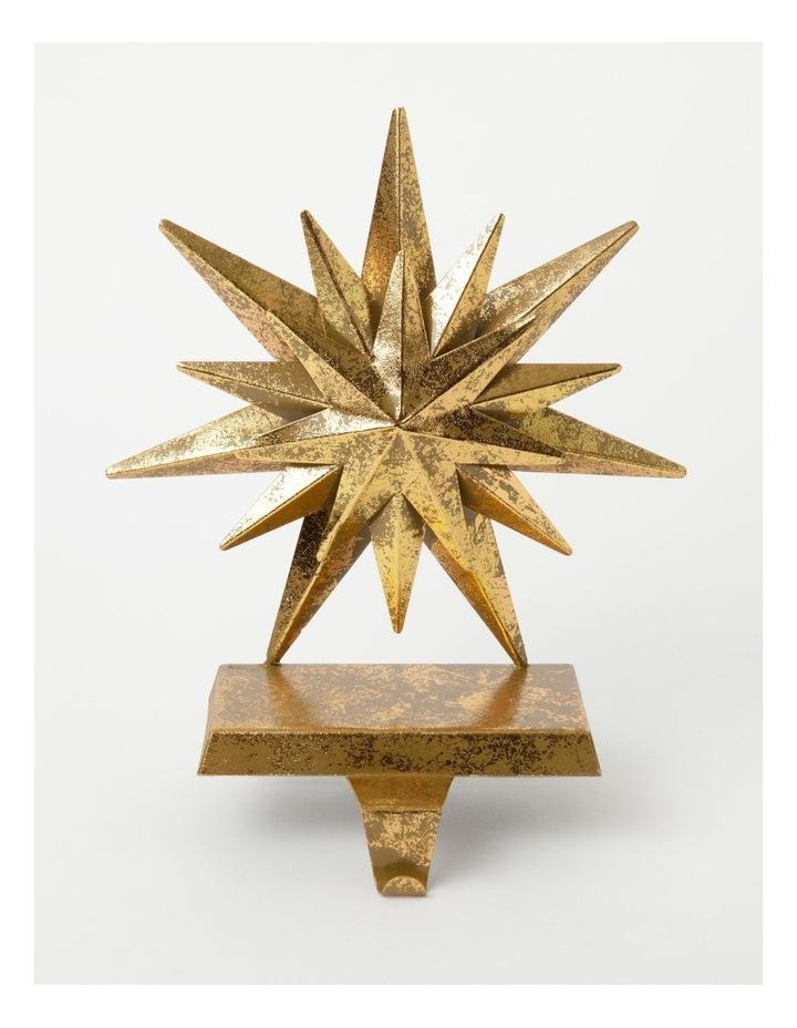 Heirloom Metal Antiqued Star Stocking Holder-Gold: 22cm image 1