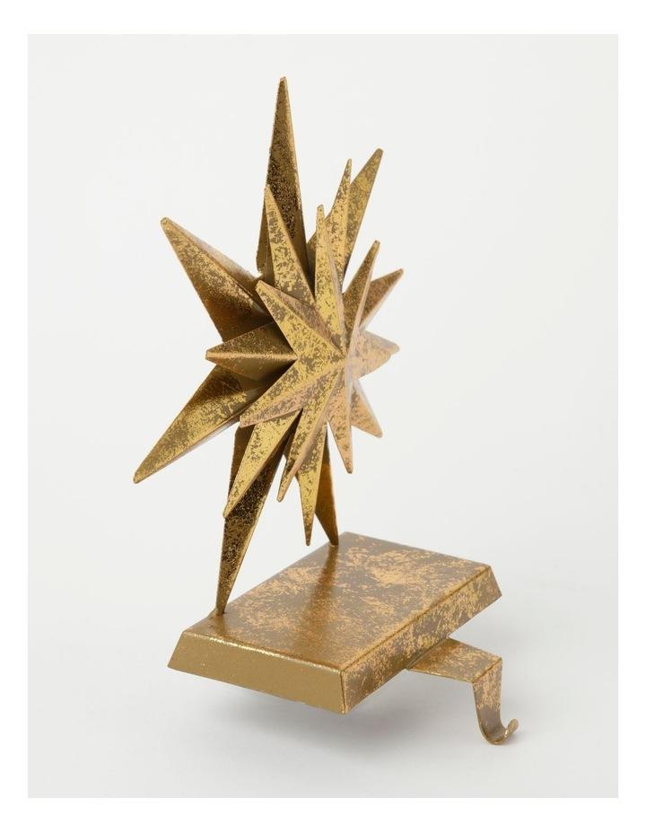 Heirloom Metal Antiqued Star Stocking Holder-Gold: 22cm image 2