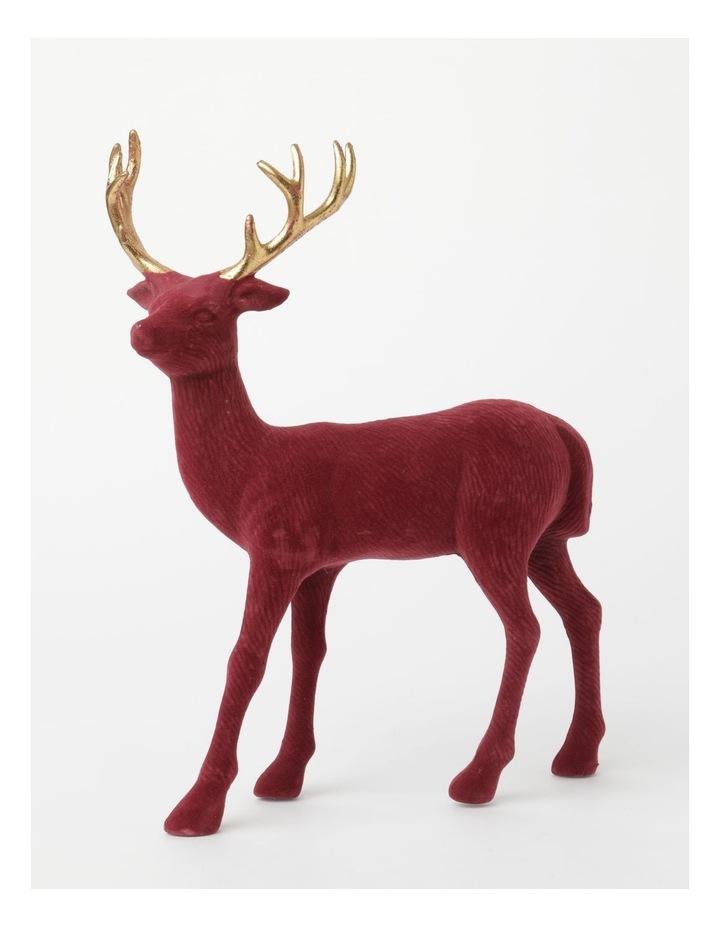 Heirloom Flocked Standing Reindeer Decoration- Red: 31 cm image 1