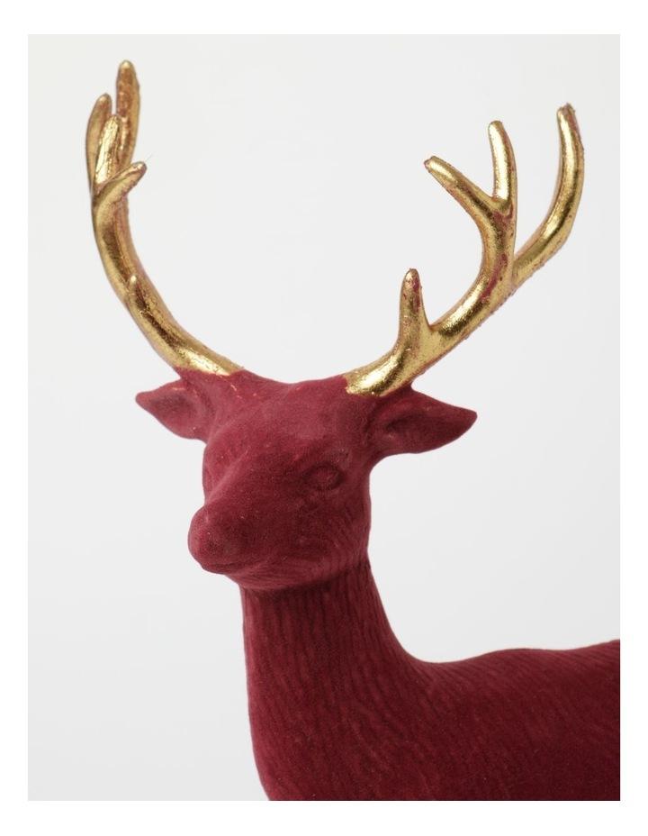 Heirloom Flocked Standing Reindeer Decoration- Red: 31 cm image 3