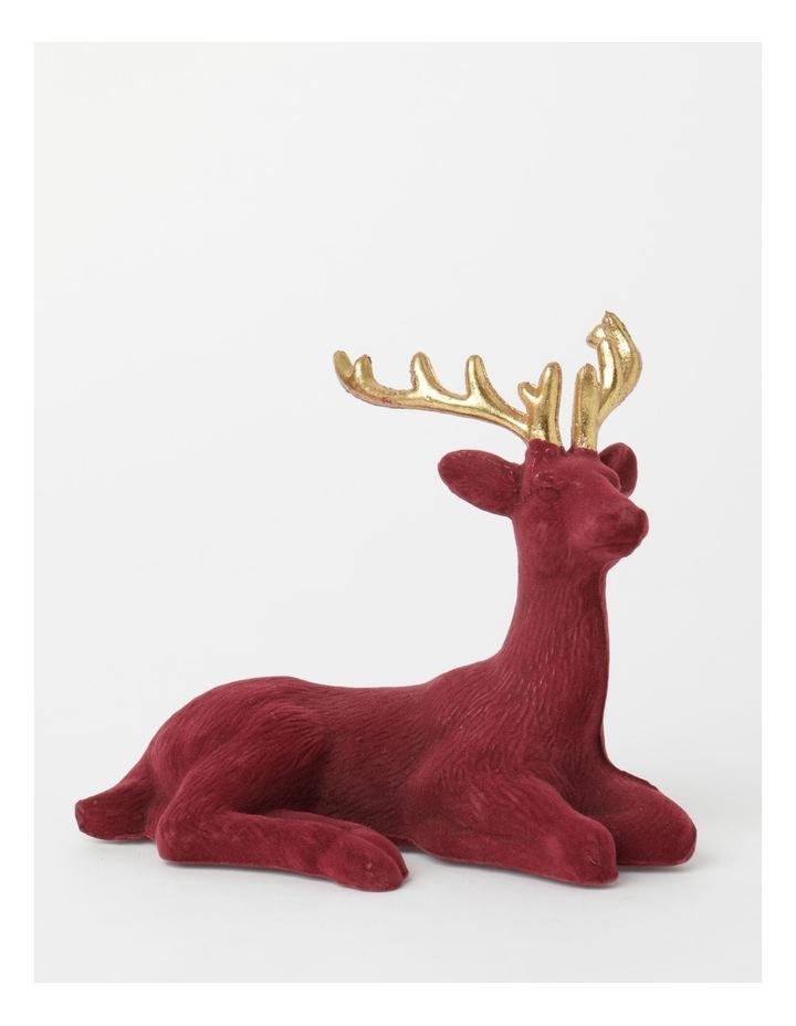 Heirloom Flocked Sitting Reindeer Decoration- Red: 31 cm image 1