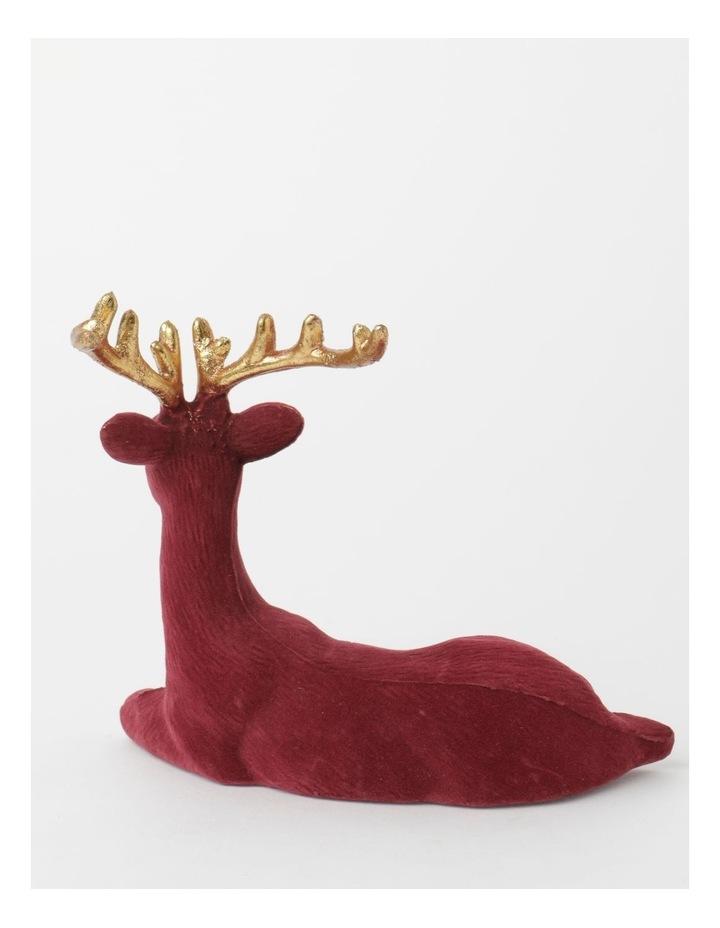 Heirloom Flocked Sitting Reindeer Decoration- Red: 31 cm image 2