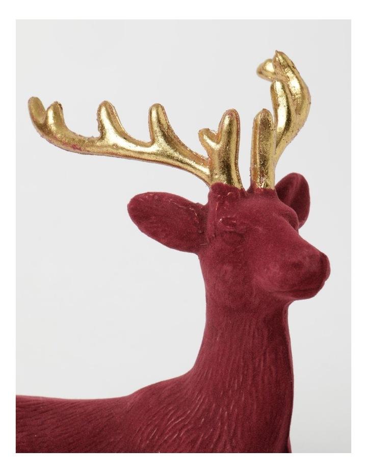 Heirloom Flocked Sitting Reindeer Decoration- Red: 31 cm image 3