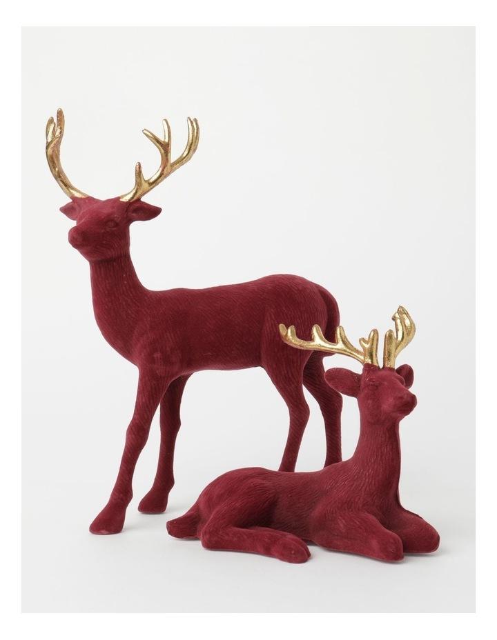 Heirloom Flocked Sitting Reindeer Decoration- Red: 31 cm image 4