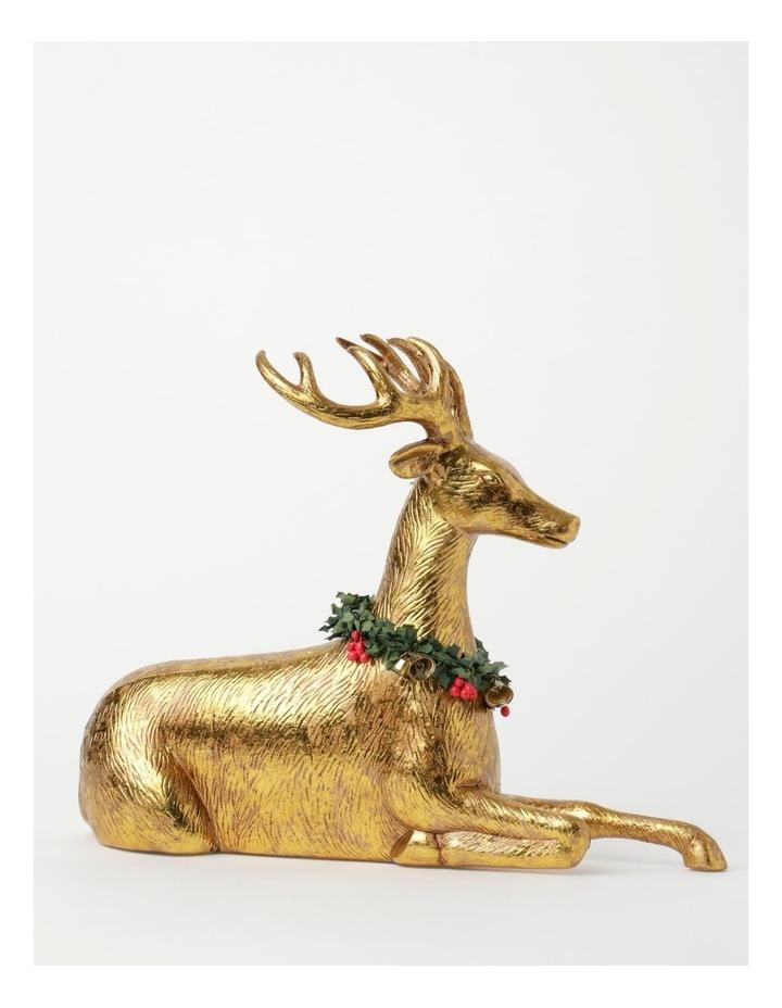 Heirloom Plastic Foiled Sitting Reindeer w/Wreath Decoration- Gold: 30 cm image 1