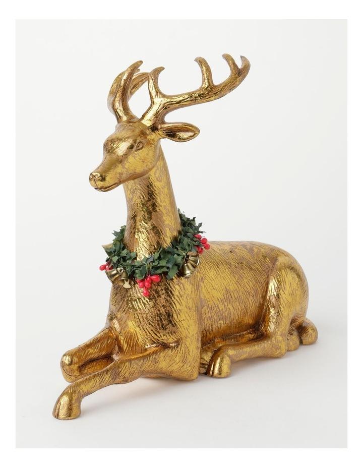 Heirloom Plastic Foiled Sitting Reindeer w/Wreath Decoration- Gold: 30 cm image 2