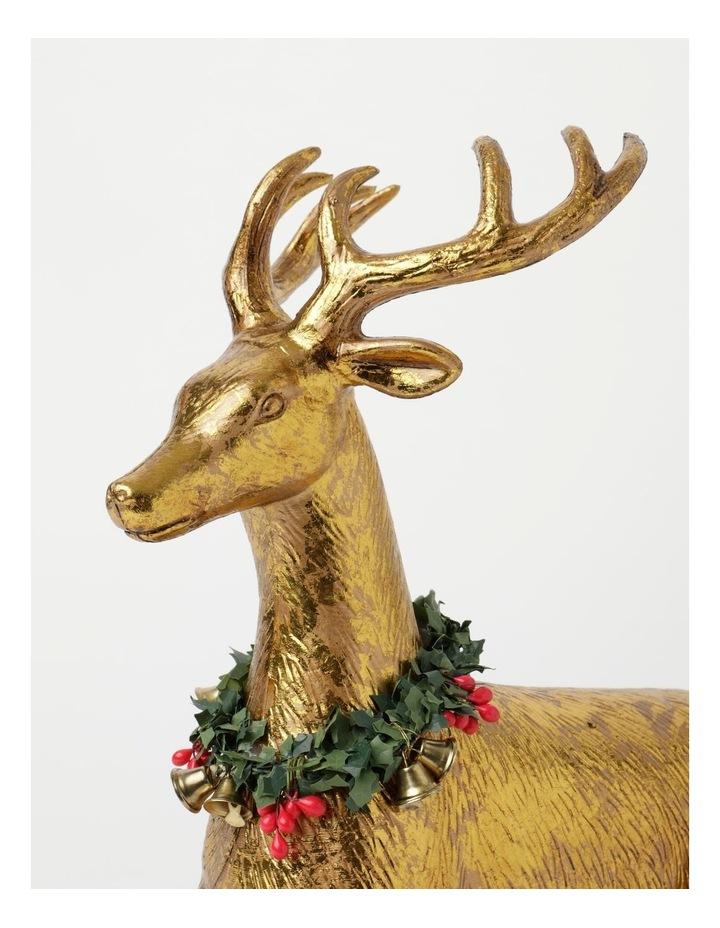 Heirloom Plastic Foiled Sitting Reindeer w/Wreath Decoration- Gold: 30 cm image 3