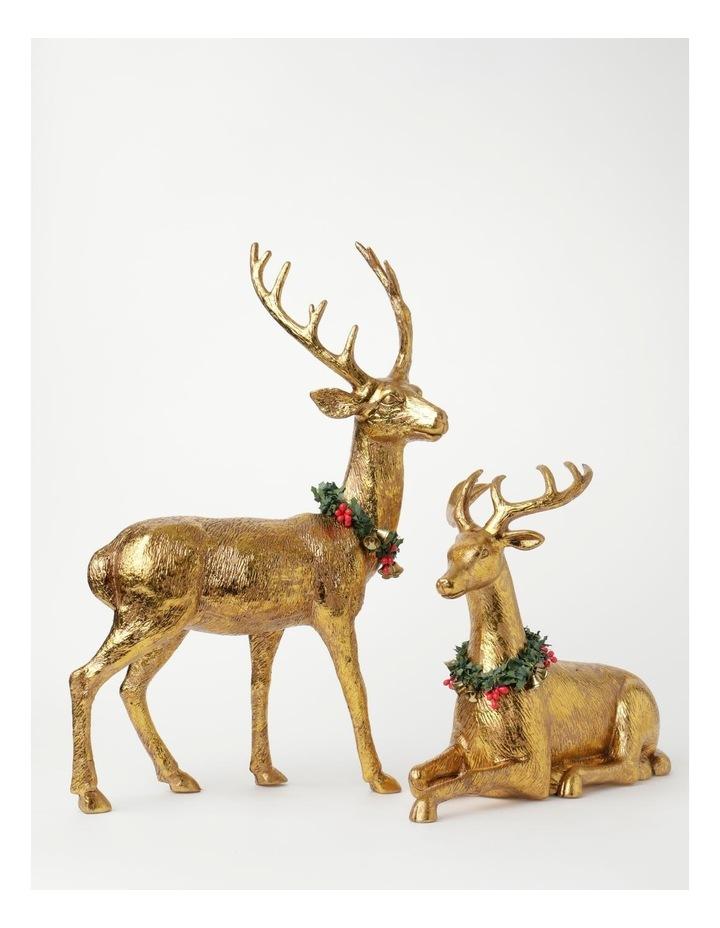 Heirloom Plastic Foiled Sitting Reindeer w/Wreath Decoration- Gold: 30 cm image 4