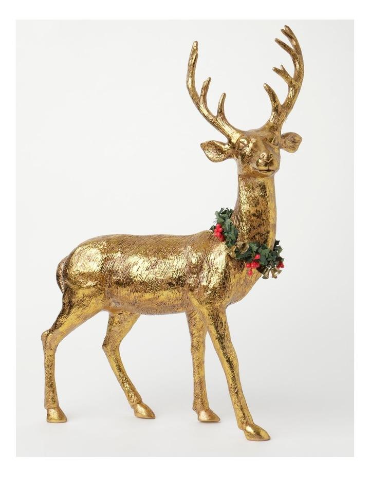 Heirloom Plastic Foiled Standing Reindeer w/Wreath Decoration- Gold: 53 cm image 1