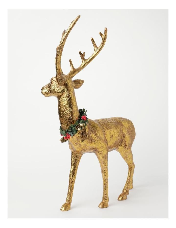 Heirloom Plastic Foiled Standing Reindeer w/Wreath Decoration- Gold: 53 cm image 2