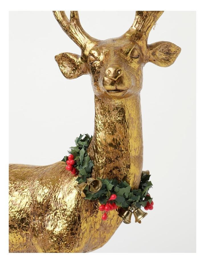 Heirloom Plastic Foiled Standing Reindeer w/Wreath Decoration- Gold: 53 cm image 3