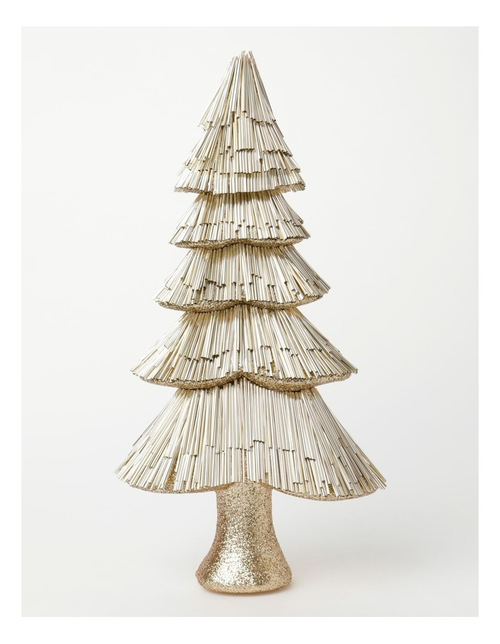 Luxe Styrofoam Pine Tinsel Table Tree Decoration- Champagne: 44 cm image 1