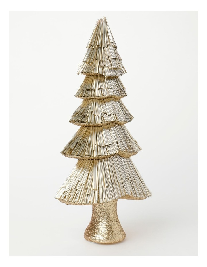 Luxe Styrofoam Pine Tinsel Table Tree Decoration- Champagne: 44 cm image 2