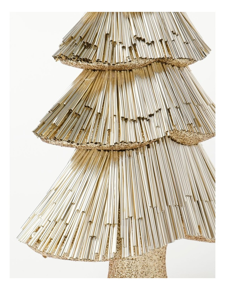 Luxe Styrofoam Pine Tinsel Table Tree Decoration- Champagne: 44 cm image 3