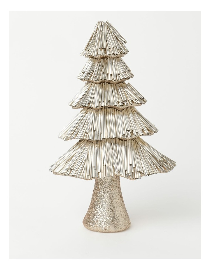 Luxe Styrofoam Pine Tinsel Table Tree Decoration - Champagne: 31 cm image 1