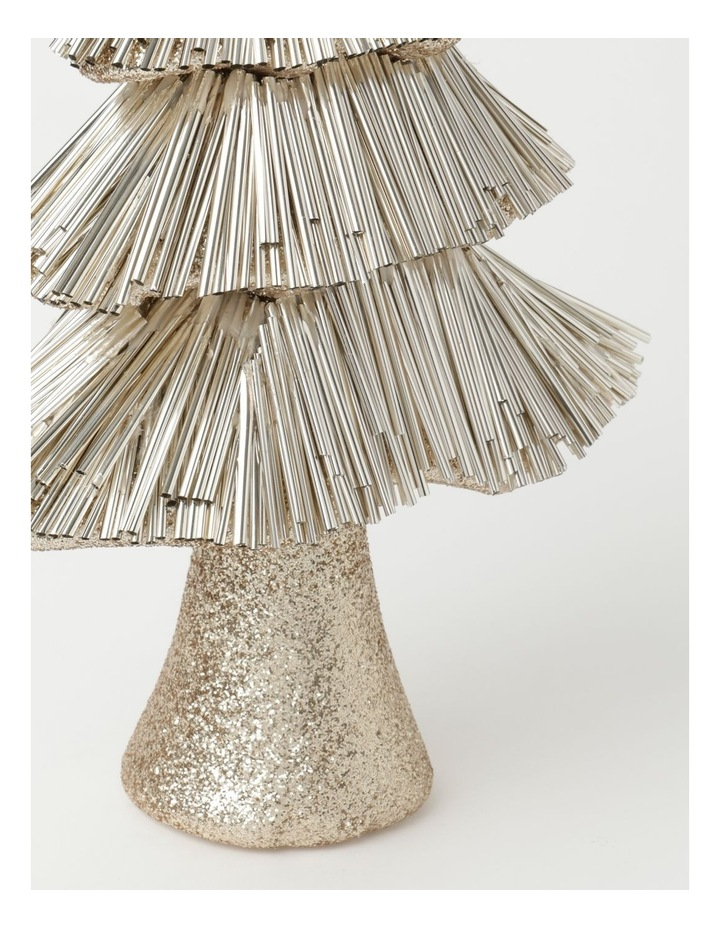 Luxe Styrofoam Pine Tinsel Table Tree Decoration - Champagne: 31 cm image 3