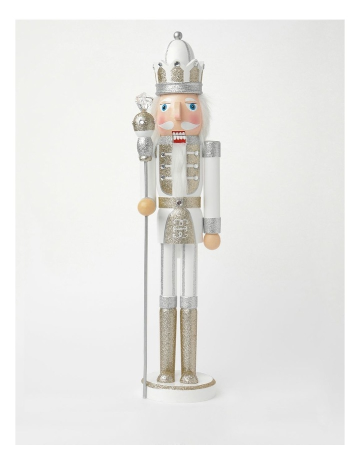 Luxe Wooden Large Nutcracker With Jewelled Staff Decoration- White: 60 Cm image 1