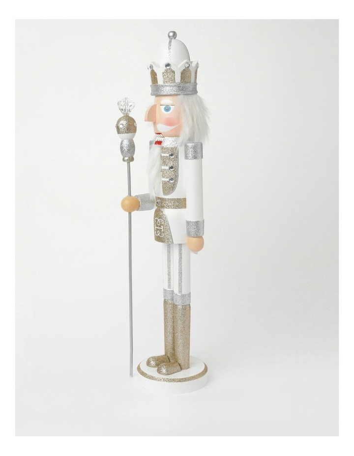 Luxe Wooden Large Nutcracker With Jewelled Staff Decoration- White: 60 Cm image 2