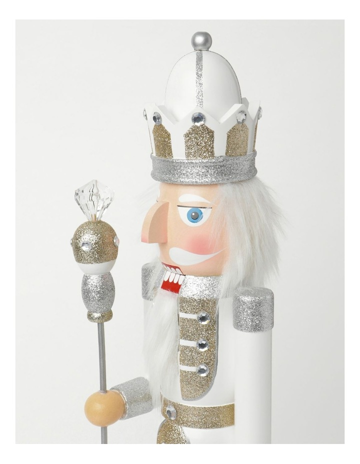 Luxe Wooden Large Nutcracker With Jewelled Staff Decoration- White: 60 Cm image 3