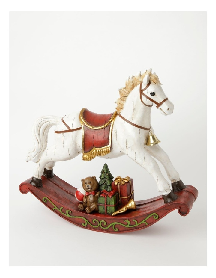 Heirloom Resin Decorative Rocking Horse w/ Gifts- White/Red: 44cm image 1