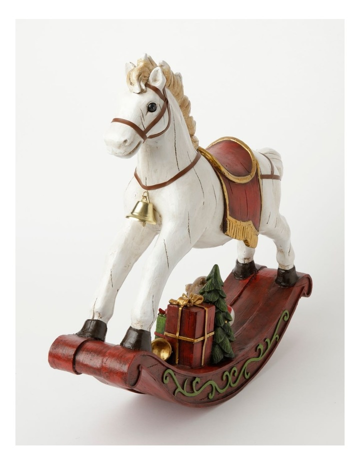 Heirloom Resin Decorative Rocking Horse w/ Gifts- White/Red: 44cm image 2