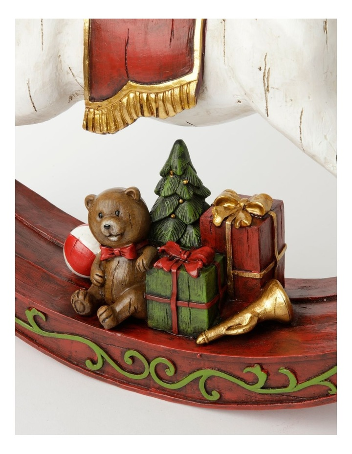 Heirloom Resin Decorative Rocking Horse w/ Gifts- White/Red: 44cm image 3