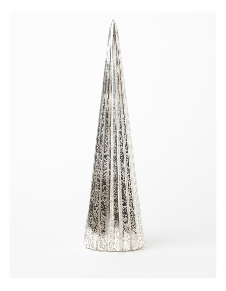 Eucalyptus Mercurised Glass w/LED Tree Table Decoration- Silver: 29cm image 1