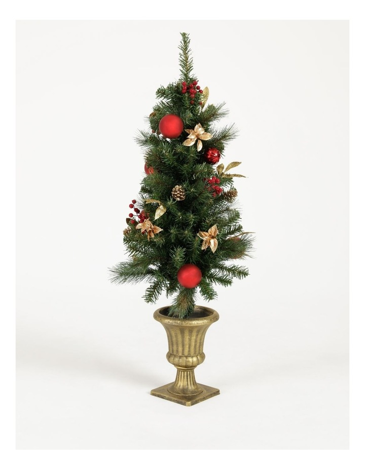 Heirloom Plastic Faux Berries, Cones & Bauble Porch Tree- Red/Green: 121 Cm image 1