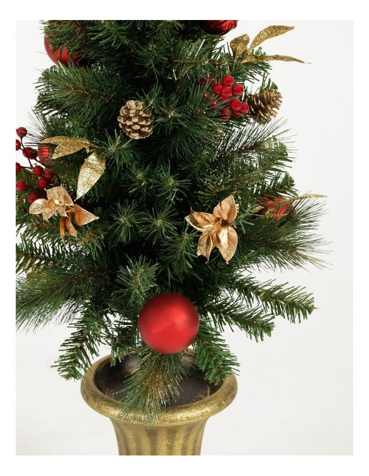 Heirloom Plastic Faux Berries, Cones & Bauble Porch Tree- Red/Green: 121 Cm image 2