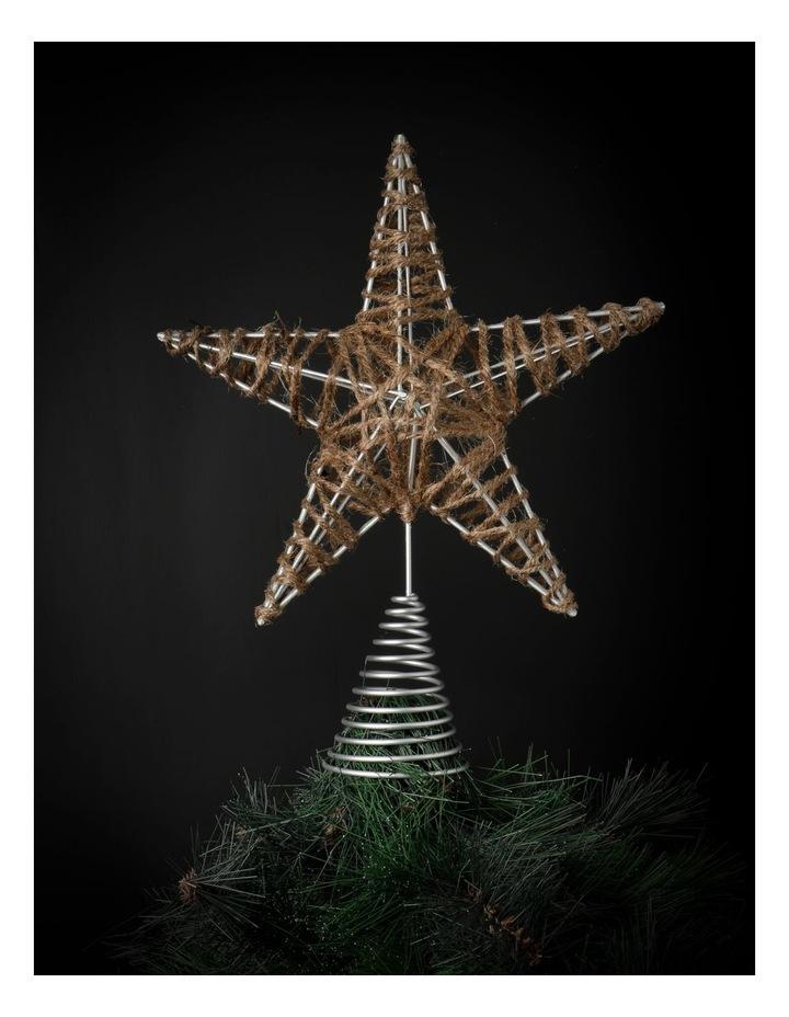 Eucalyptus Metal Jute Wrapped Star Tree Topper- Natural: 33cm image 2