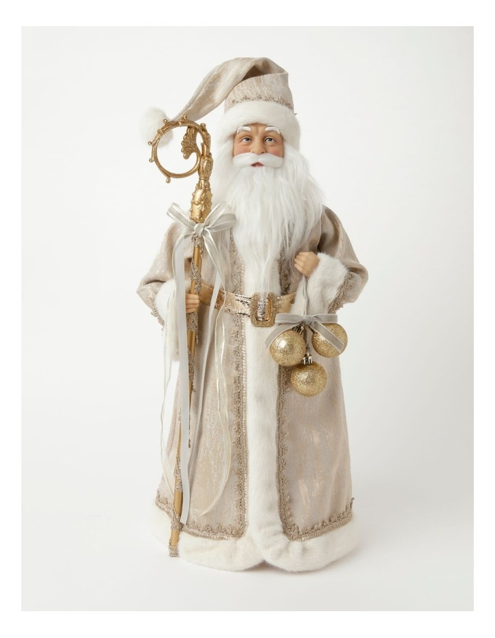 Luxe Paxton Fabric Santa w/ Staff & Baubles Decoration- Champagne: 50cm image 1