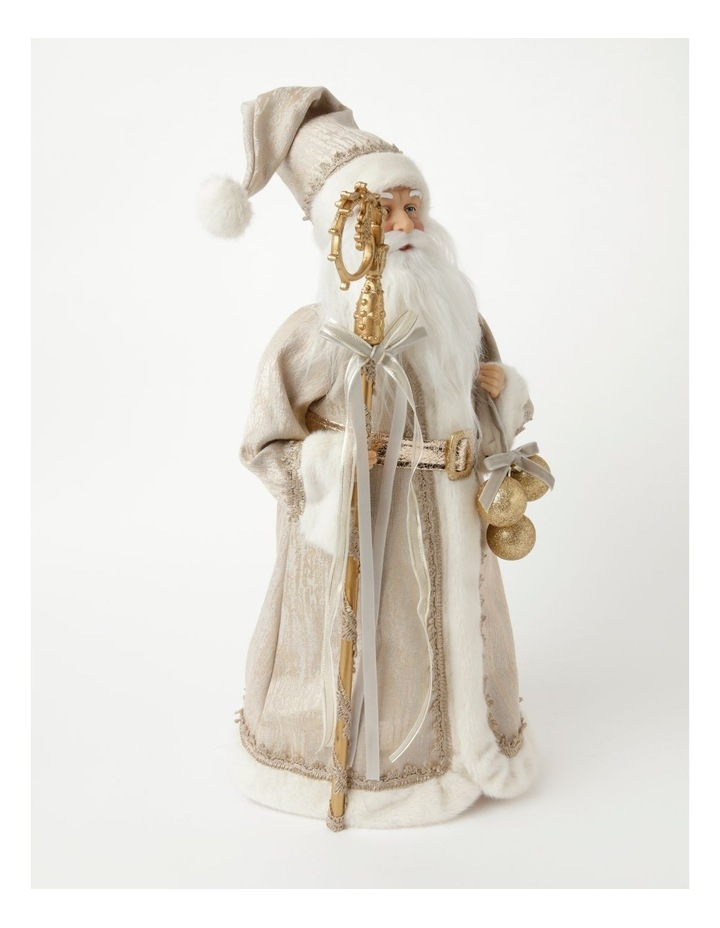 Luxe Paxton Fabric Santa w/ Staff & Baubles Decoration- Champagne: 50cm image 2