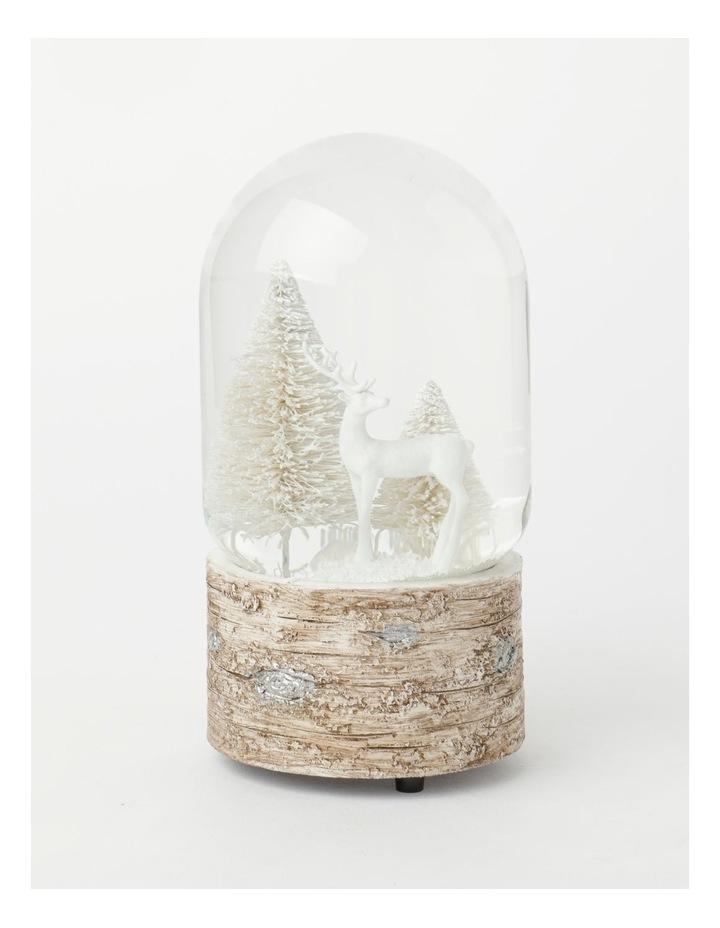 Eucalyptus Polyresin Reindeer w/ Trees Musical Snowglobe- White: 18 cm image 1