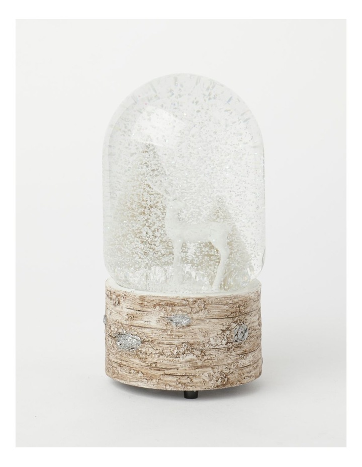 Eucalyptus Polyresin Reindeer w/ Trees Musical Snowglobe- White: 18 cm image 2