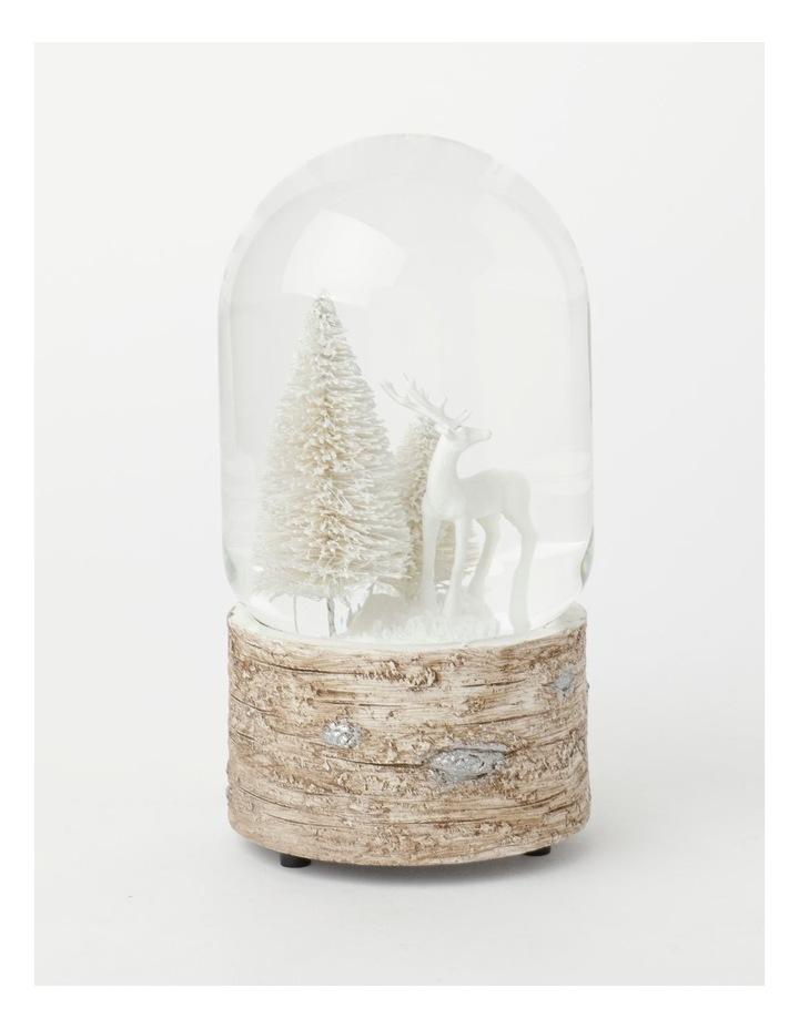 Eucalyptus Polyresin Reindeer w/ Trees Musical Snowglobe- White: 18 cm image 3