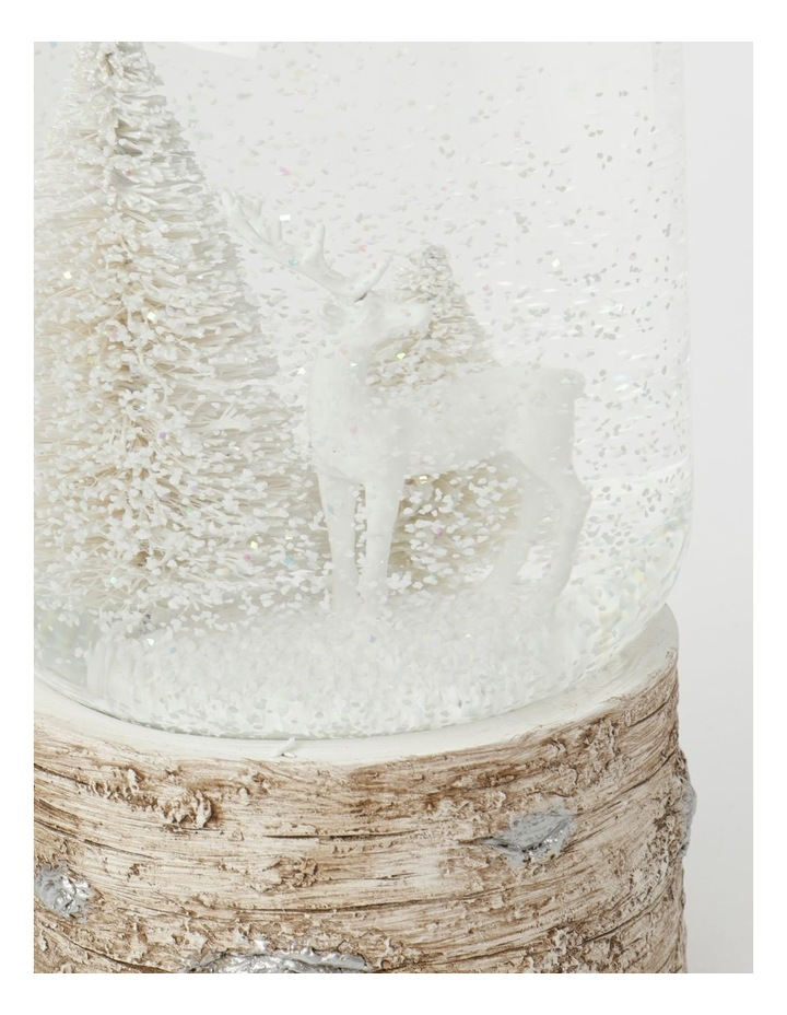 Eucalyptus Polyresin Reindeer w/ Trees Musical Snowglobe- White: 18 cm image 4