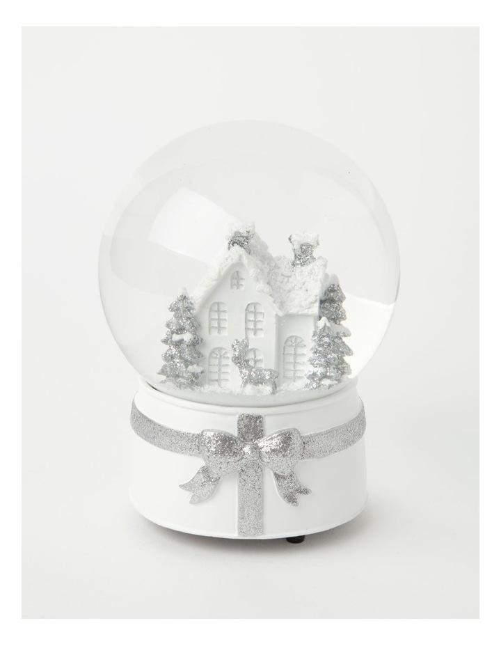 Eucalyptus Polyresin House & Trees Musical Snowglobe- White/Silver: 21cm image 1