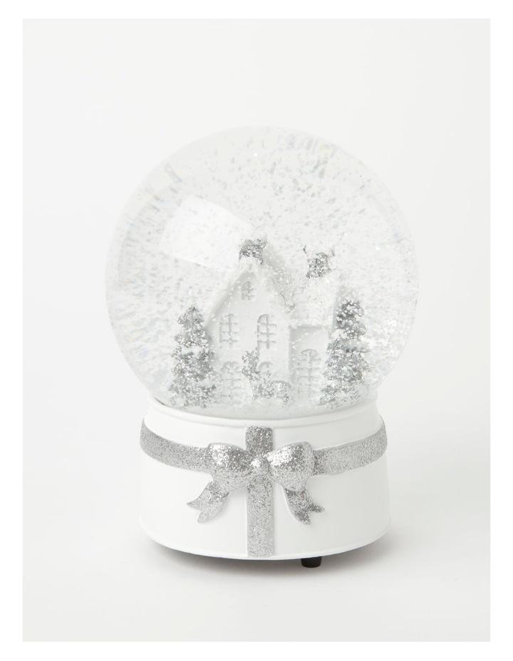 Eucalyptus Polyresin House & Trees Musical Snowglobe- White/Silver: 21cm image 2