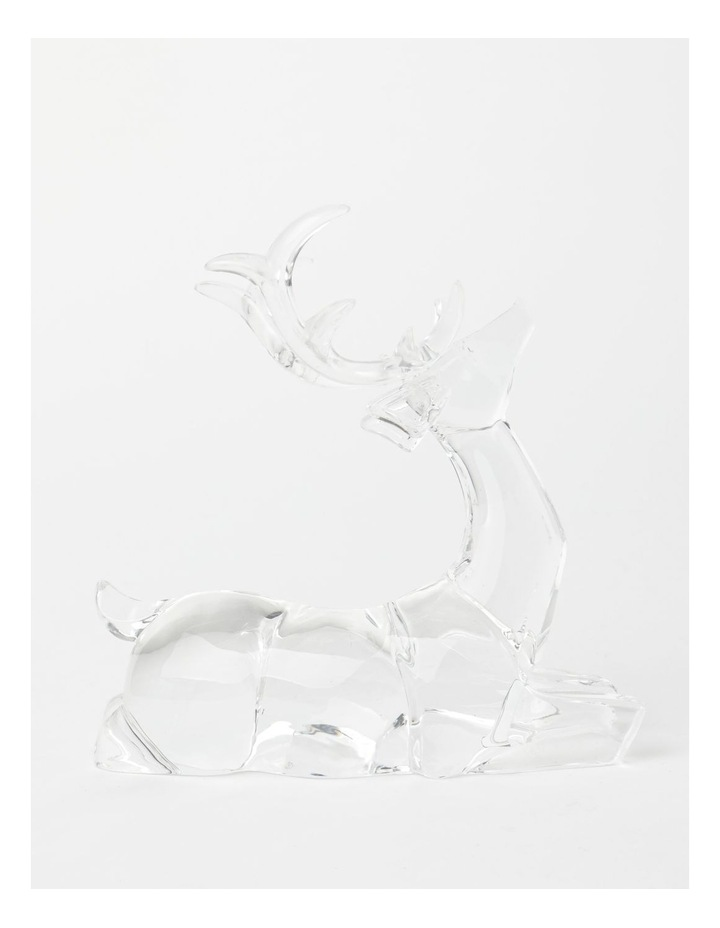 Luxe Acrylic Sitting Reindeer- Clear: 19 cm image 1