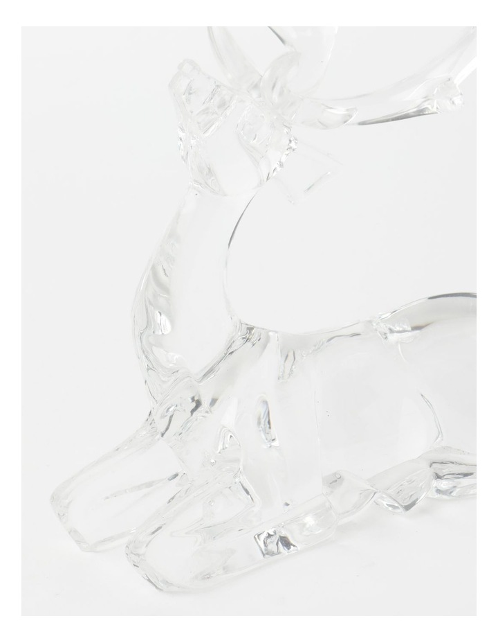 Luxe Acrylic Sitting Reindeer- Clear: 19 cm image 2
