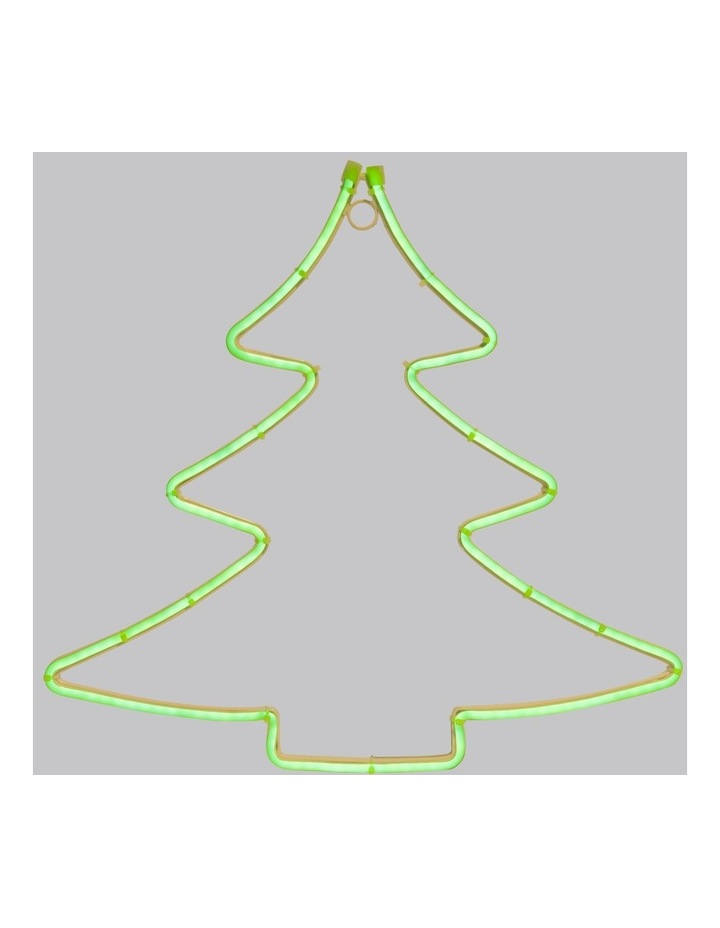 Merry & Bright 150L Tree Neon Rope LED Decoration- Green: 40cm image 2