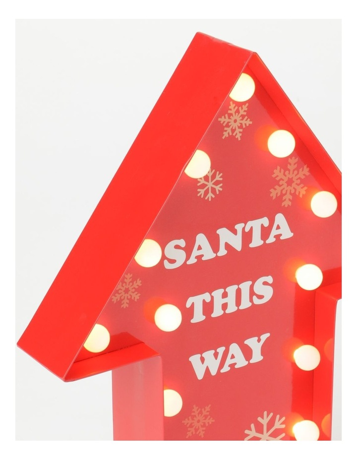 Merry & Bright 16L Paper Gloss Arrow Sign B/O LED Decoration: Red- 30cm image 2