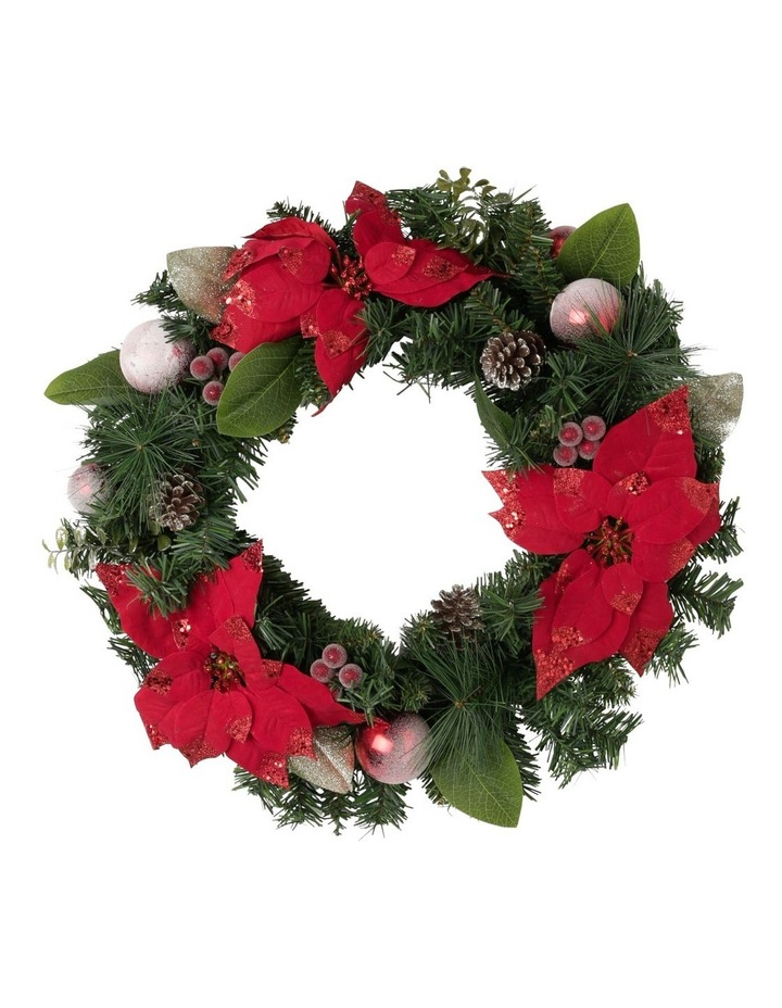 Heirloom Red Poinsettia with Baubles and Pinecones Wreath image 1