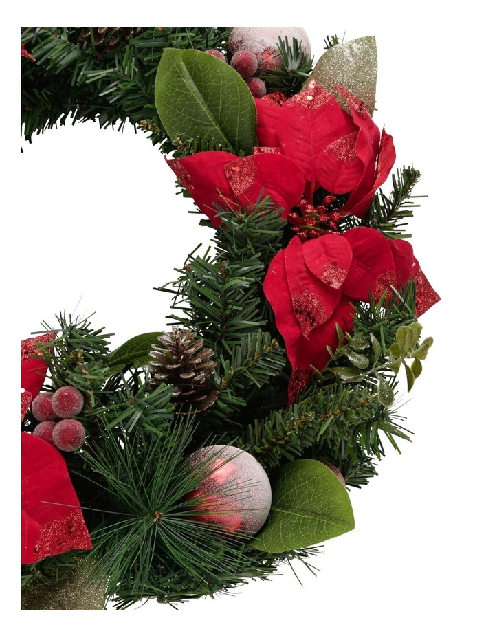Heirloom Red Poinsettia with Baubles and Pinecones Wreath image 2